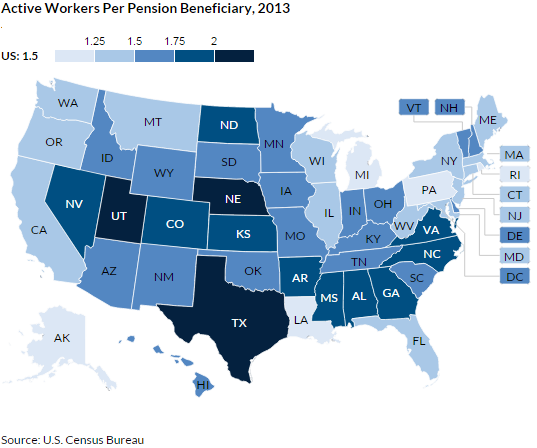 Figure 5: Active Workers Per Pension Beneficiary, 2013
