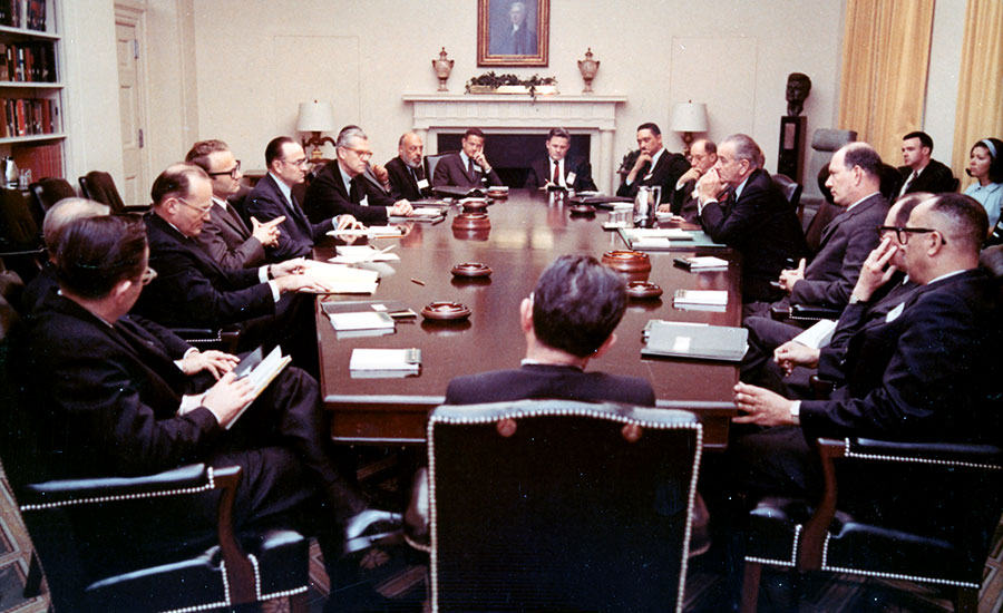 President Johnson addresses the Urban Institute Board of Directors in 1968
