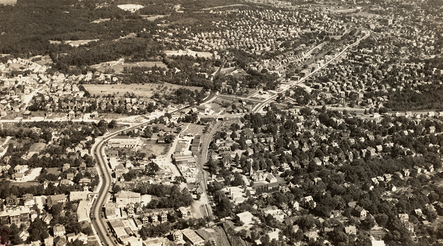 aerial view of the Boston neighborhood Roxbury