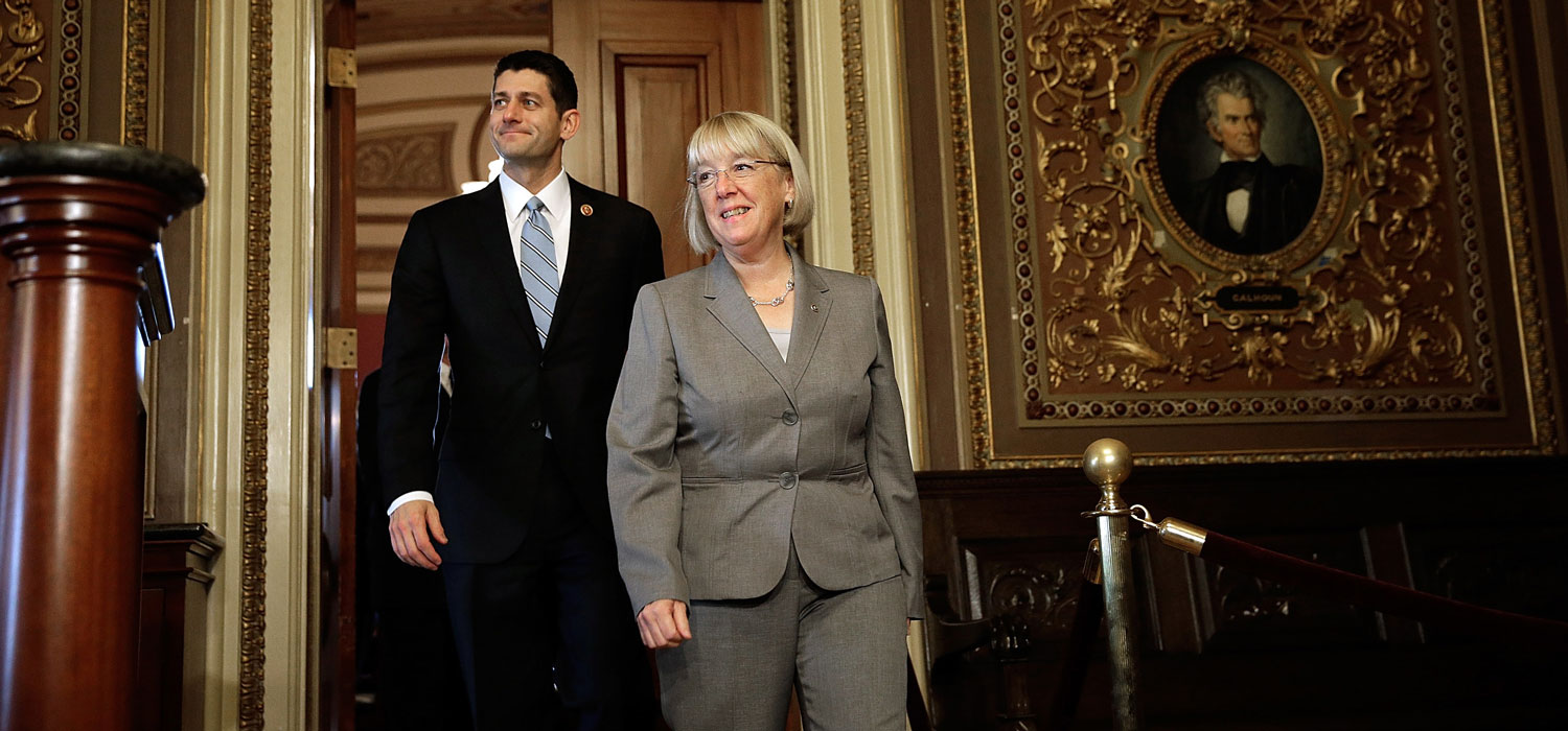 Members of the bipartisan budget conference Rep. Paul Ryan (R-WI) and Sen. Patty Murray (D-WA) discuss their initial meeting at the US Capitol October 17, 2013 in Washington, DC. Photo by Win McNamee/Getty Images