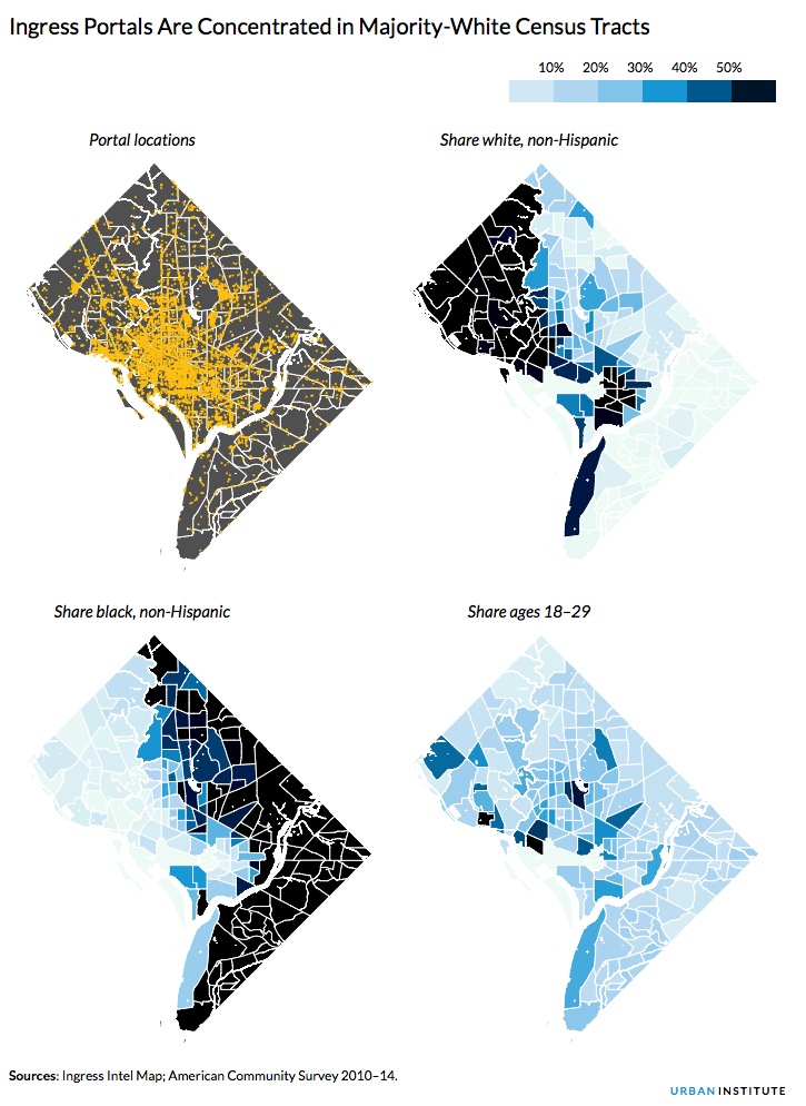 Ingress Portals Are Concentrated in Majority-White Census Tracts