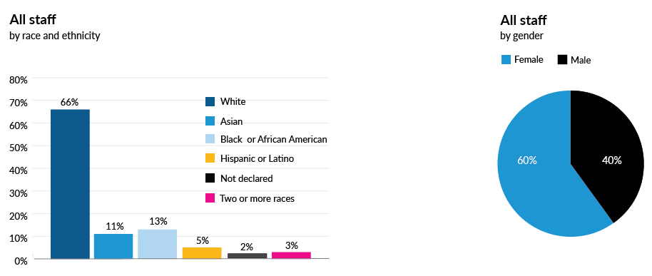 All staff by race and ethnicity