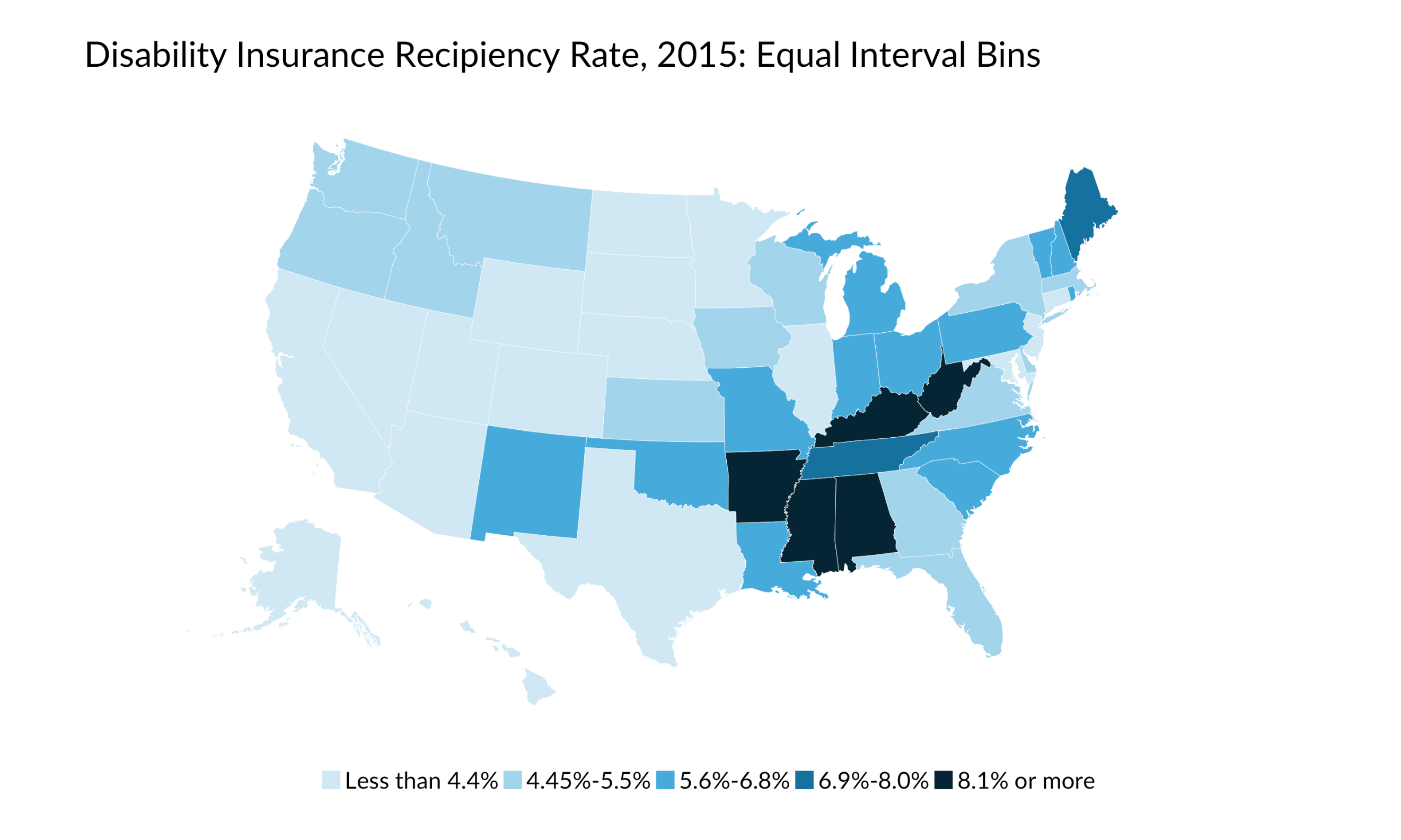 equal interval bins map of disability insurance recipient rate, 2015