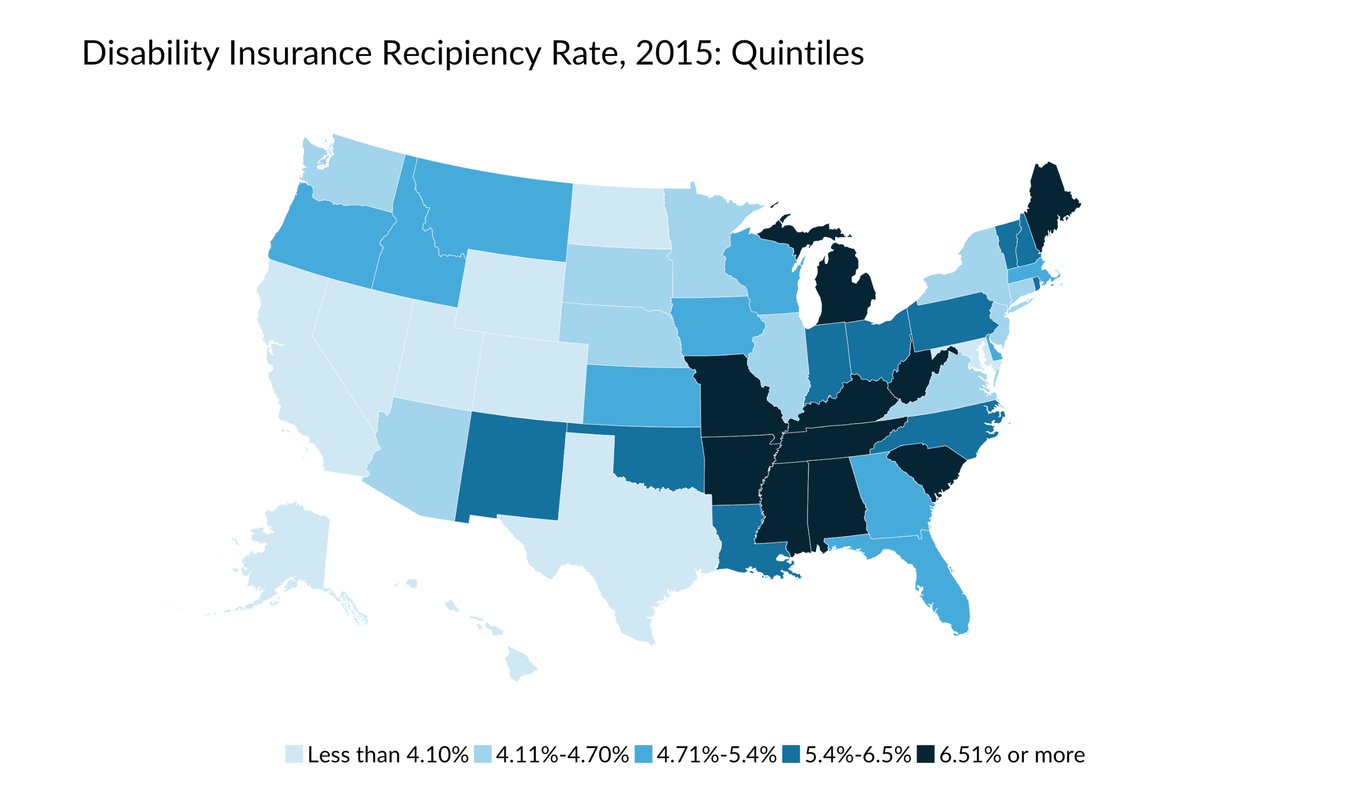 quintiles map of disability insurance recipient rate, 2015
