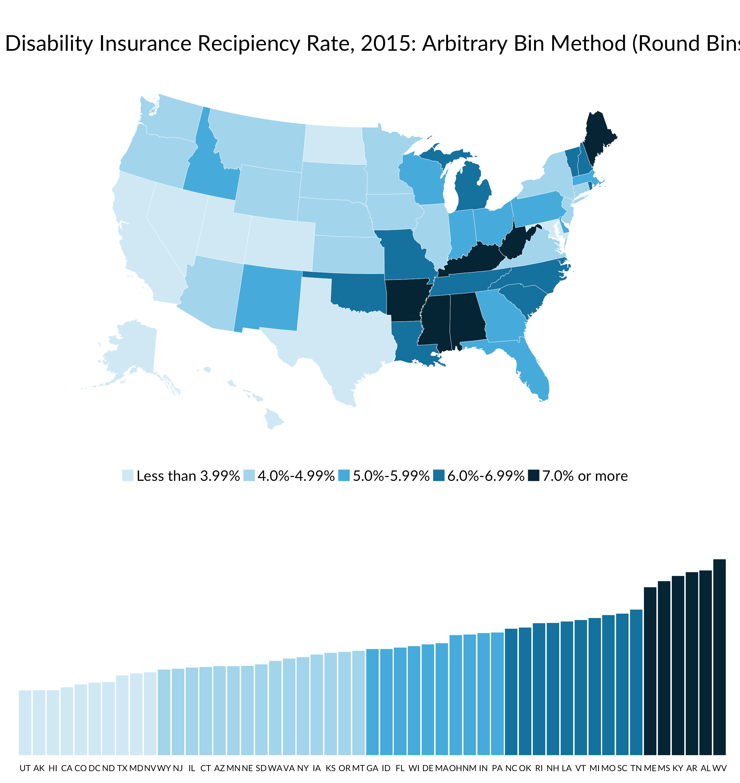 arbitrary bin map of disability insurance recipient rate, 2015 with number of observations included as a bar chart