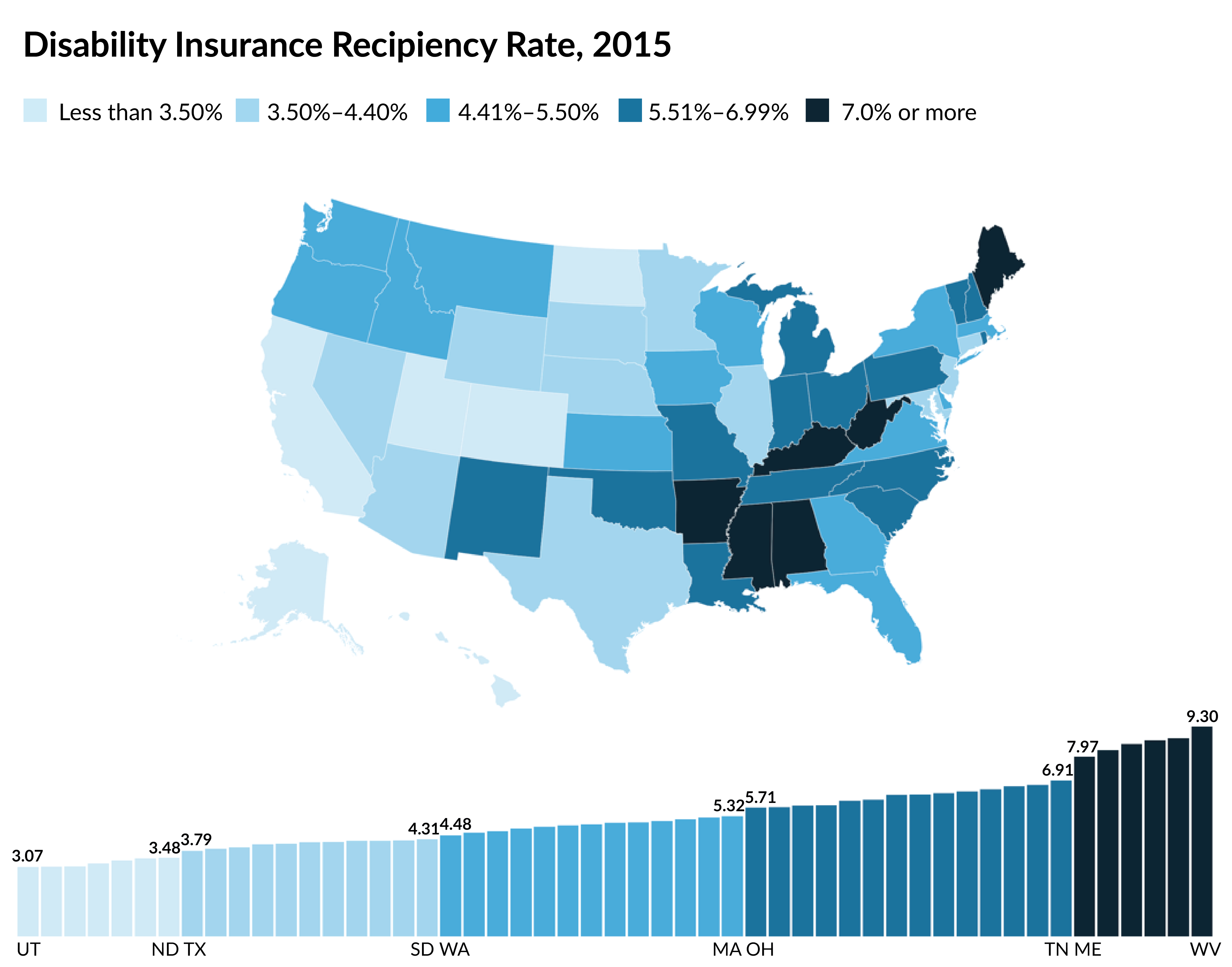 Disability Insurance Recipiency Rate, 2015 map 2