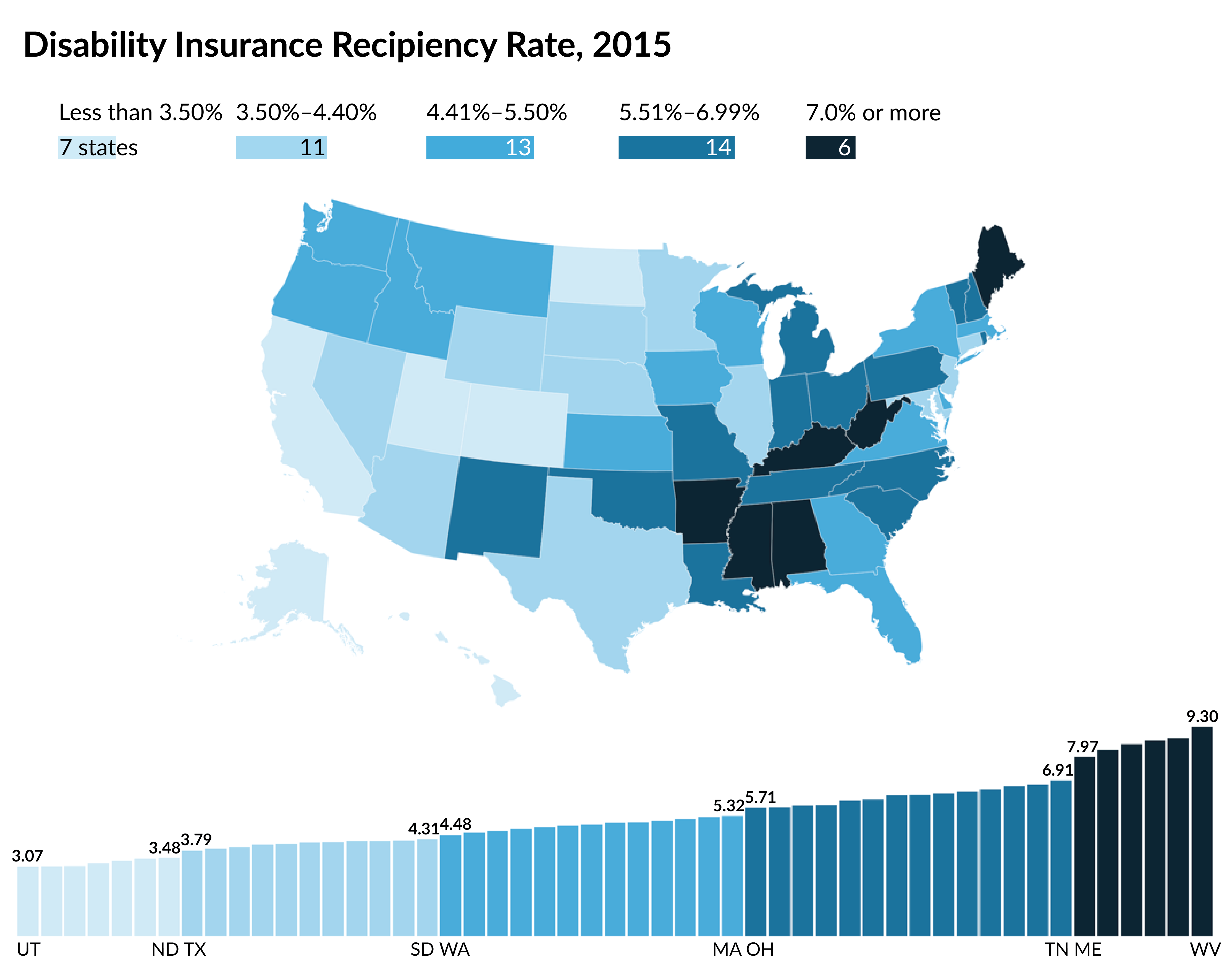 Disability Insurance Recipiency Rate, 2015 map 3