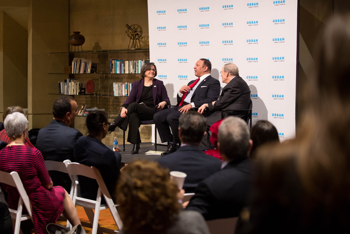 (From left to right) Sarah Rosen Wartell, President at the Urban Institute, Marc Morial, President and Chief Executive Officer at the National Urban League, and Peter Edelman, Carmack Waterhouse Professor of Law and Public Policy and Faculty Director of t