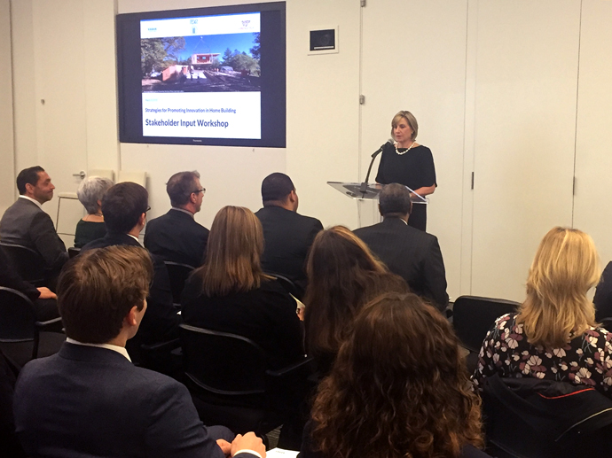 Pamela Hughes Patenaude, deputy secretary of HUD speaks at the Strategies for Promoting Innovation in Home Building event. Photo by Emily Peiffer/Urban Institute.