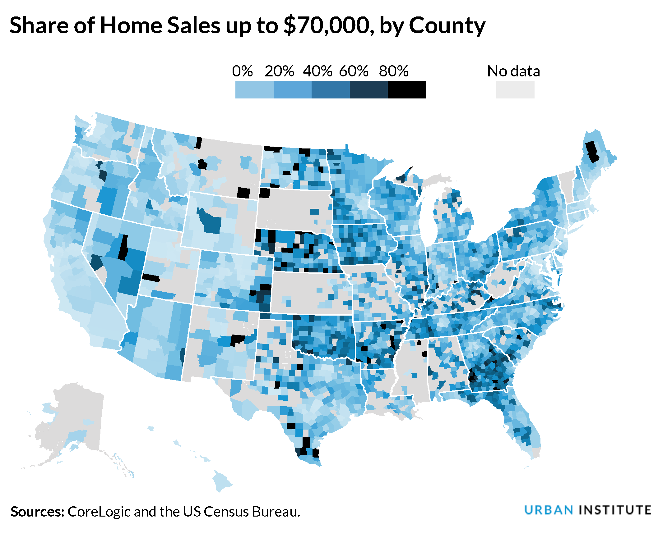 share of home sales up to 70K by county