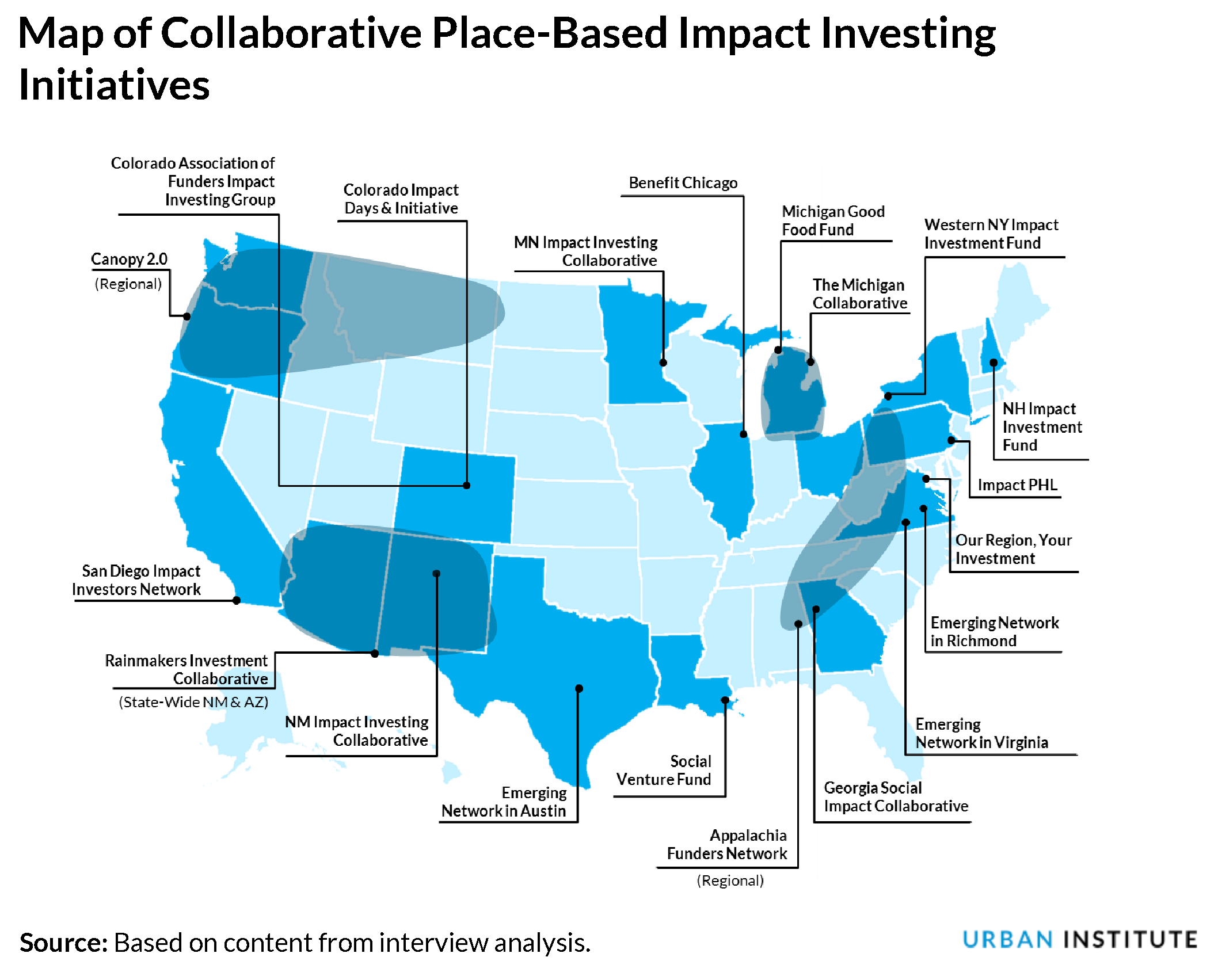 map of collaborative initiatives in place-based impact investing