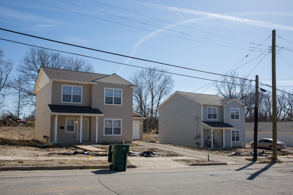 A row of affordable, single-family rental homes under construction in the Unity Park, a multi-phase development, in Pontiac, Michigan.