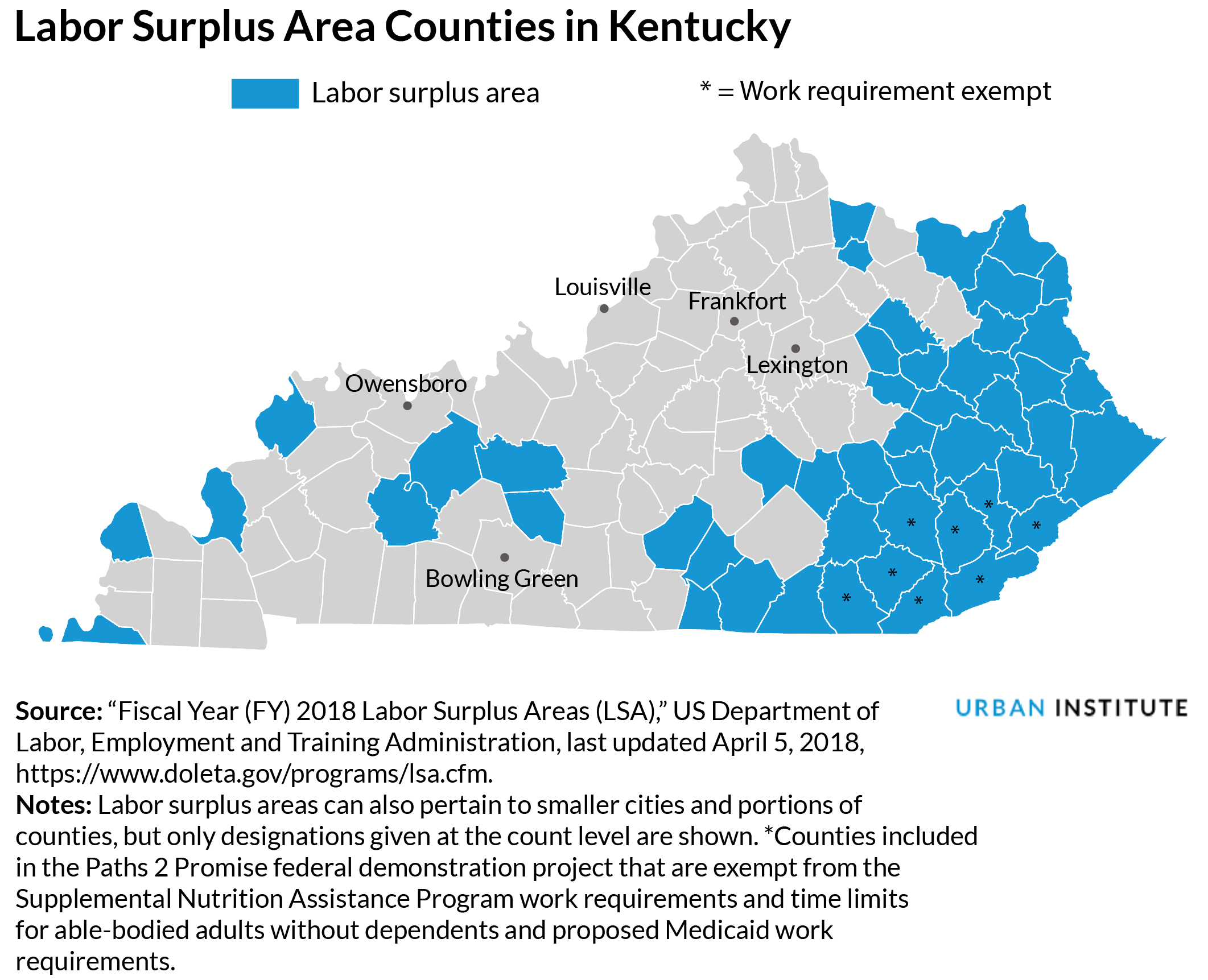 map of Kentucky labor surplus areas
