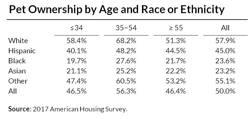 Pet Ownership by Age and Race or Ethnicity