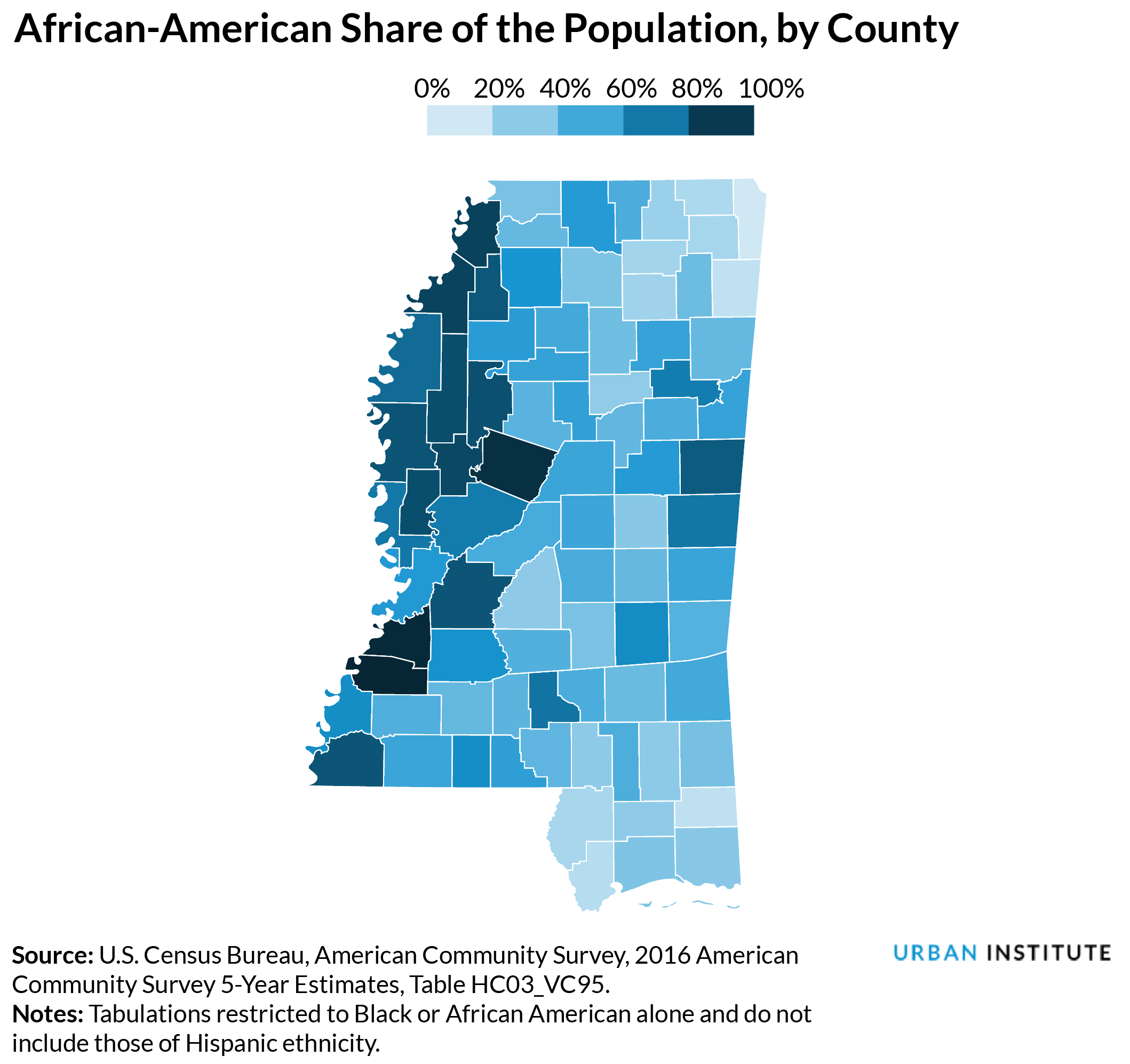 african american share of population by county