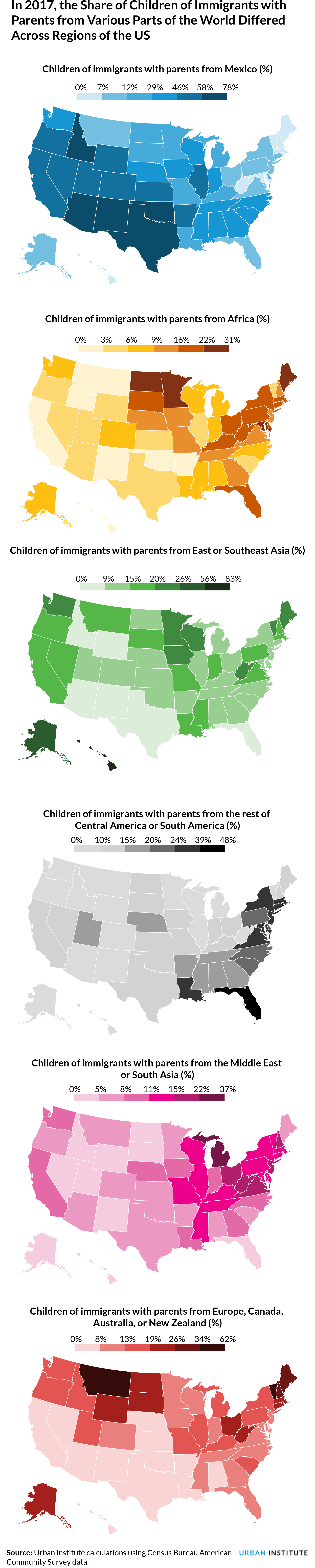 Maps of share of children of immigrants by region