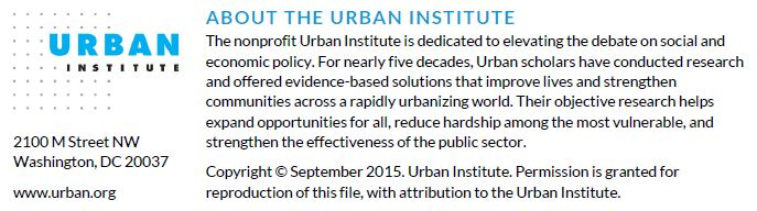 Copyright September 2015. Urban Institute.
