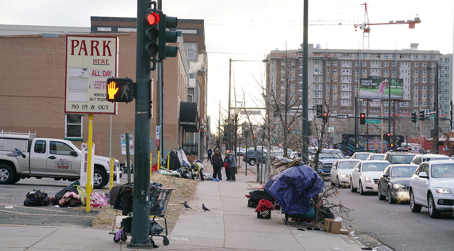 People experiencing homelessness tend to live in certain pockets of Denver's downtown, including this section of Champa Street.