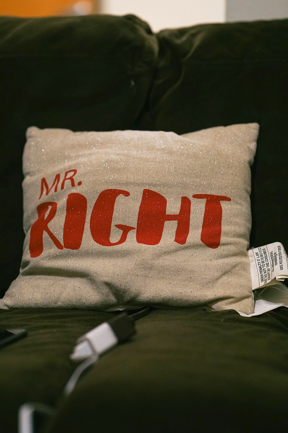 Robert bought this Mr. Right pillow to remind himself that he can overcome his past struggles and take on each day with confidence.