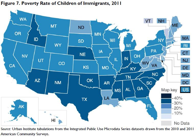 Figure 7. Poverty Rate of Children of Immigrants, 2011