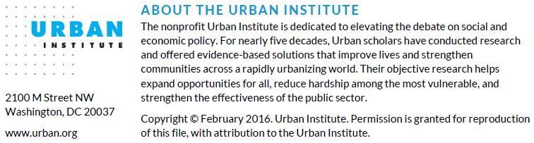 About the Urban Institute. Copyright Feburary 2016.
