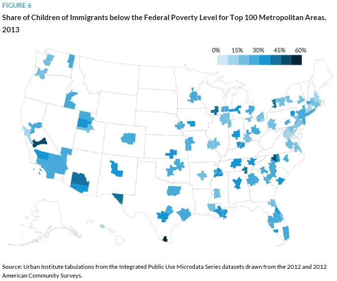 Figure 6. Share of Children of Immigrants below the Federal Poverty Level for Top 100 Metropolitan Areas, 2013