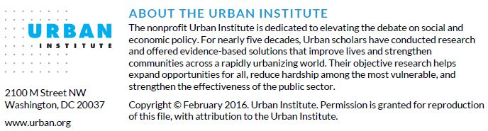 About the Urban Institute. Copyright February 2016