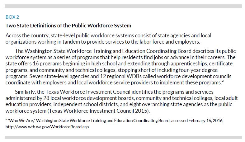 Box 2. Two State Definitions of the Public Workforce System