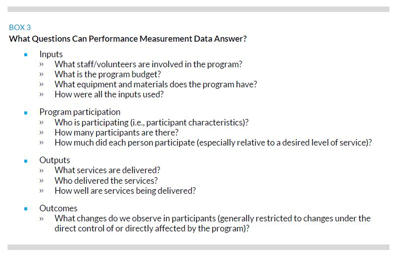 Box 3. What Question Can Performance Measurement Data Answer?