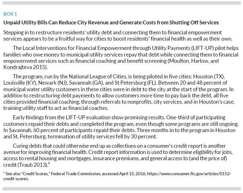 Box 1. Unpaid Utility Bills Can Reduce City Revenue and Generate Costs from Shutting Off Services