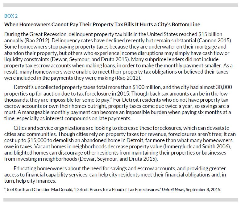 Box 2. When Homeowners Cannot Pay Their Property Tax Bills It Huts a City's Bottom Line