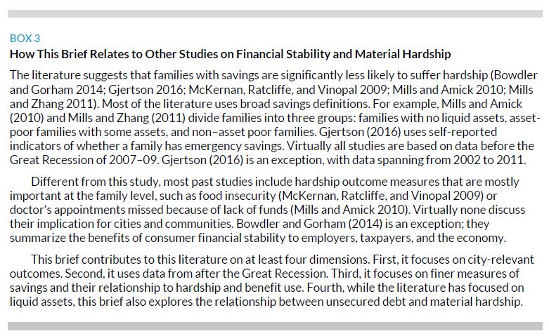 Box 3. How This Brief Relates to Other Studies on Financial Stability and Material Hardship
