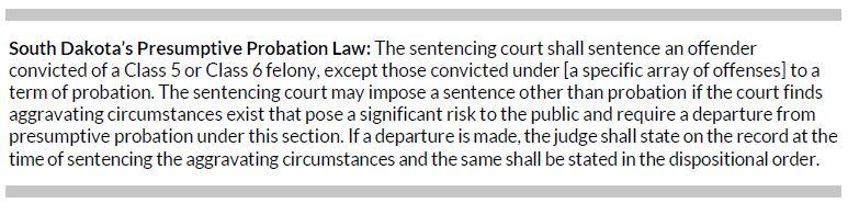 Box 1. South Dakota's Presumptive Probation Law
