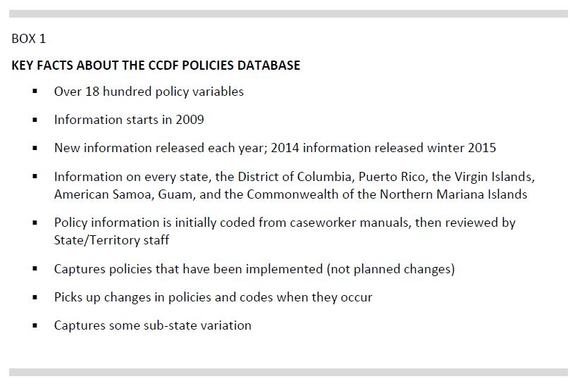 Box 1. Key Facts about the CCDF Policies Database