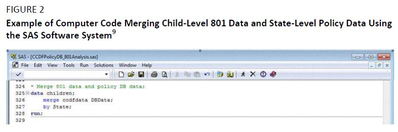 Figure 2. Example of Computer Code Merging Child-Level 801 Data and State-Level Policy Data Using the SAS Softward System