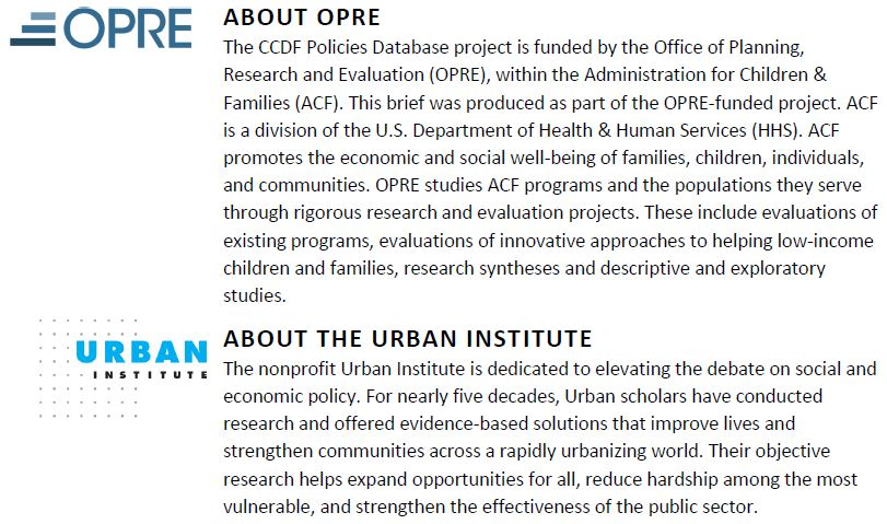 Copyright May 2016. OPRE and Urban Institute
