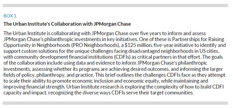 Box 1. The Urban Institute's Collaboration with JPMorgan Chase