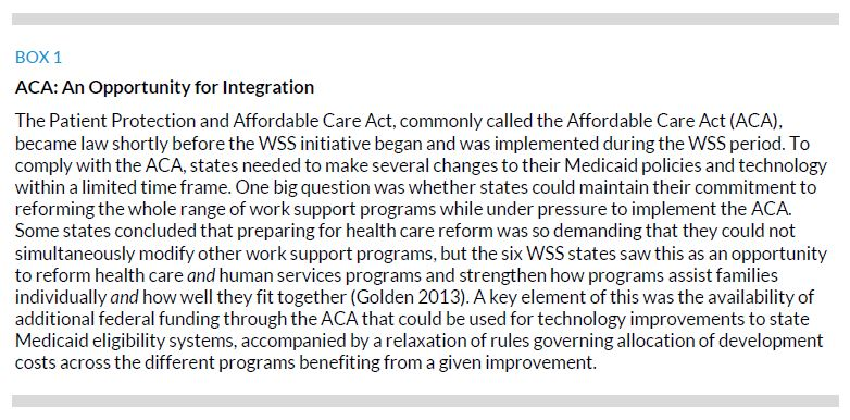 Box 1. ACA: An Opportunity for Integration