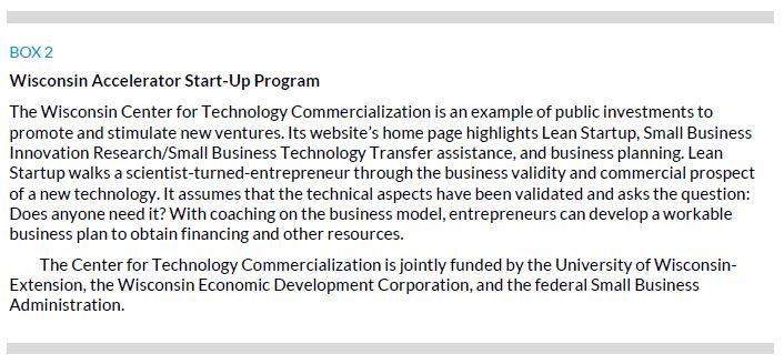 Box 2. Wisconsin Accelerator Start-Up Program