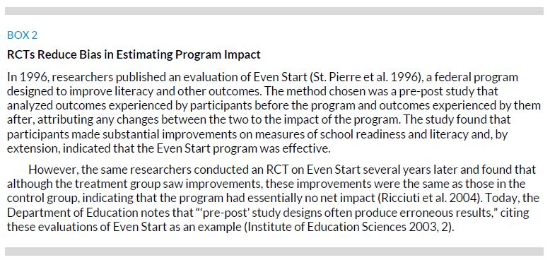 Box 2. RCTs Reduce Bias in Estimating Program Impact