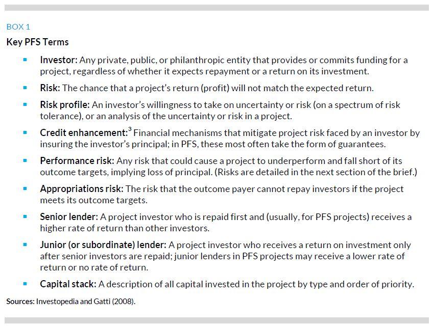 Box 1. Key PFS Terms