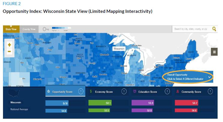 Figure 2. Opportunity Index: Wisconsin State View (Limited Mapping Interactivity)