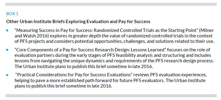 Box 1. Other Urban Institute Briefs Exploring Evaluation and Pay for Success