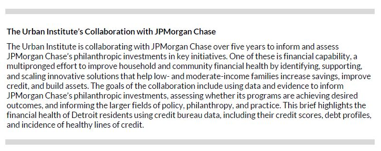 The Urban Institute's Collaboration with JPMorgan Chase
